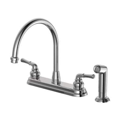 Prestige Collection 2-Handle High-Arc Standard Kitchen Faucet with Matching Side Spray in Chrome