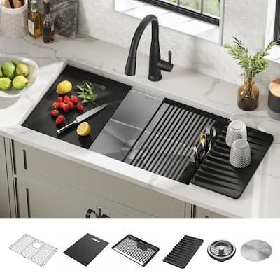 Rivet 16-Gauge Stainless Steel 32 in. Single Bowl Undermount Workstation Kitchen Sink with Accessories