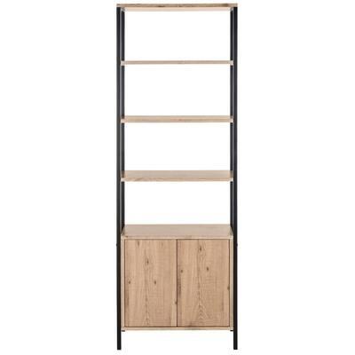 70.8 in. Oak/Black Metal 4-shelf Etagere Bookcase with Open Back