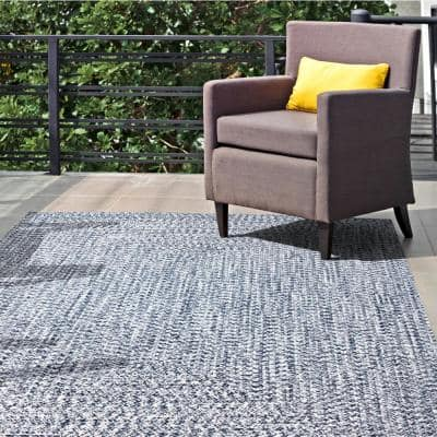 Lefebvre Casual Braided Light Blue 8 ft. x 10 ft. Indoor/Outdoor Area Rug