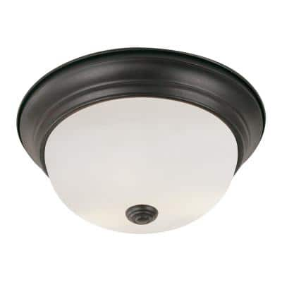 Bowers 11 in. 2-Light Rubbed Oil Bronze Flush Mount with Frosted Glass Shade