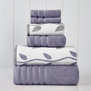 Grey Lavender 6-Piece Yarn Dyed Towel Set Organic Vines
