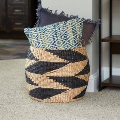 Black and Natural Large Woven Basket