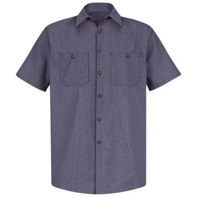 Men's Size 5XL (Tall) Blue / Charcoal Check Micro-Check Uniform Shirt