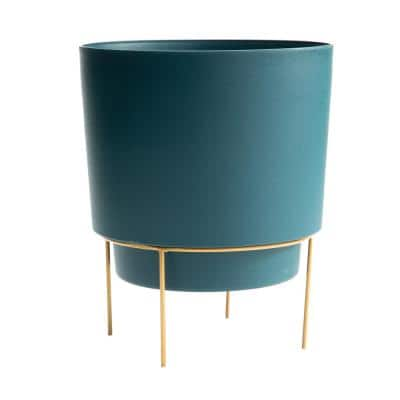 Hopson Small 6 in. Charleston Green Plastic Planter with Metal Gold Stand