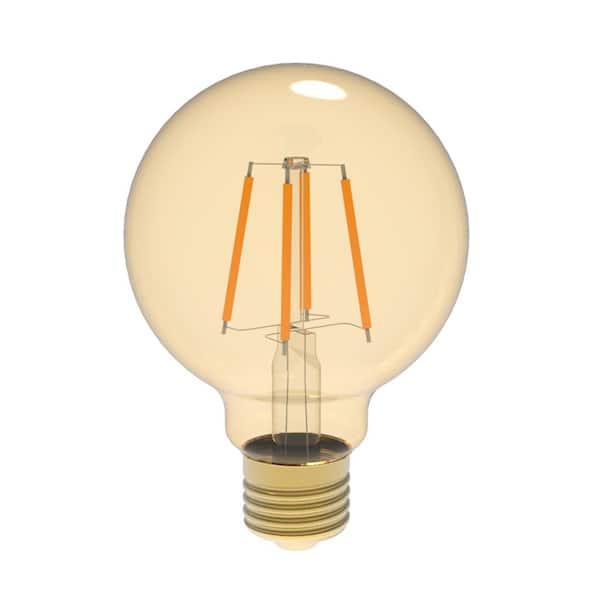 Euri Lighting 60w Equivalent Warm White 2400k G25 Dimmable Amber Led Light Bulb Vg25 2000a The Home Depot