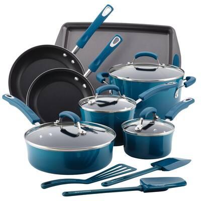Classic Brights 14-Piece Aluminum Nonstick Cookware Set in Marine Blue Gradient