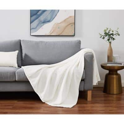 Solid Plush Ivory Polyester 60 in. x 80 in. Throw Blanket