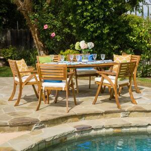 Hermosa Teak 7-Piece Wood Rectangular Outdoor Dining Set with Cream Cushions