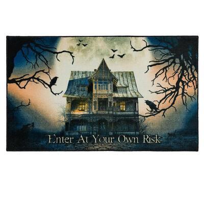 Spooky Enter Gray 2 ft. 6 in. x 4 ft. 2 in. Halloween Indoor Area Rug