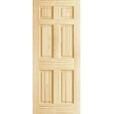 28 in. x 80 in. x 1.375 in. 6 Panel Colonial Double Hip Pine Interior Door Slab