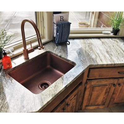 Renoir All-In-One Undermount Copper 23 in. Single Bowl Kitchen Sink with Pfister Bronze Faucet and Strainer