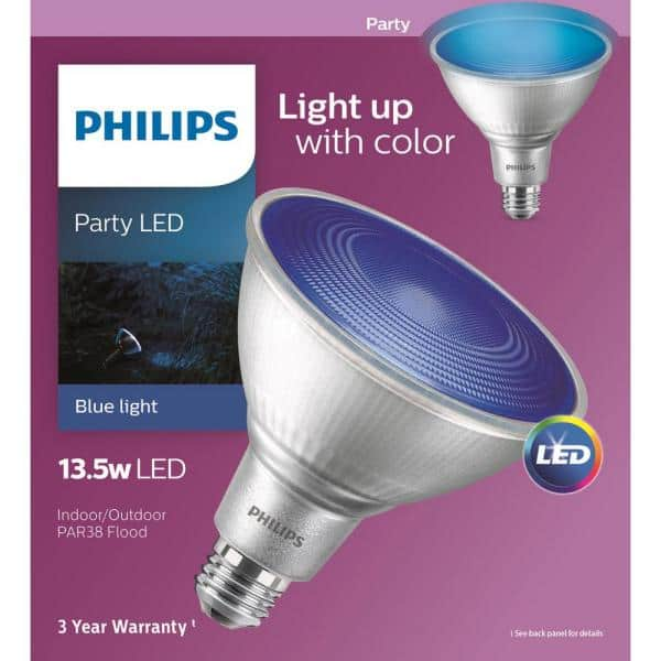 Philips 90 Watt Equivalent Par 38 Led Flood Blue 469072 The Home Depot