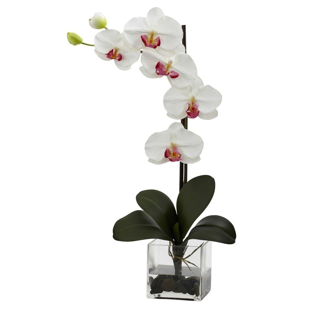 Nearly Natural Giant Phalaenopsis Orchid With Vase Arrangement In White 1324 Wh The Home Depot
