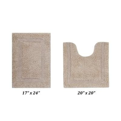 Lux Collection Sand 17 in. x 24 in. and 20 in. x 20 in. 100% Cotton 2-Piece Bath Rug Set