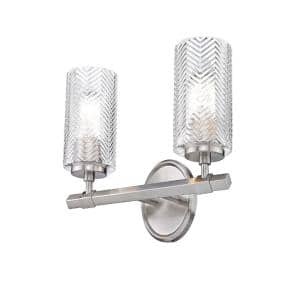 14.25 in. 2-Light Brushed Nickel Vanity Light with Clear Glass