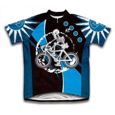 Unisex Large Blue Skeleton Biker Microfiber Short-Sleeved Cycling Jersey