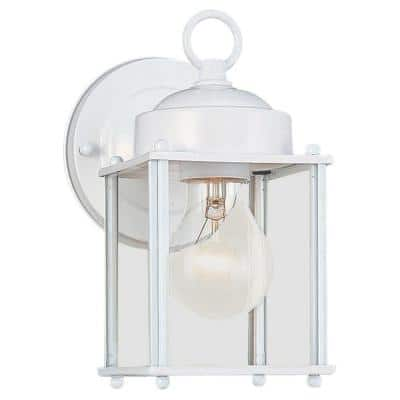 New Castle 1-Light White Outdoor 8.25 in. Wall Lantern Sconce