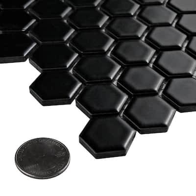 Metro Hex Matte Black 10-1/4 in. x 11-7/8 in. x 5 mm Porcelain Mosaic Tile (8.65 sq. ft. /Case)