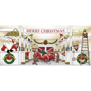 7 ft. x 16 ft. Huge Santa's Reindeer Barn Christmas Garage Door Decor Mural for Double Car Garage