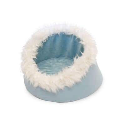 Small Blue Feline Cat Comfort Cavern Pet Bed