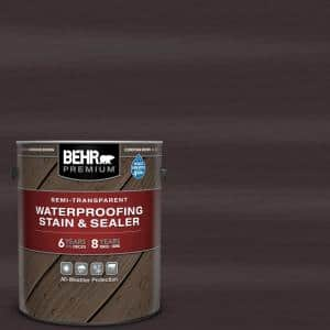 1 gal. #ST-104 Cordovan Brown Semi-Transparent Waterproofing Exterior Wood Stain and Sealer