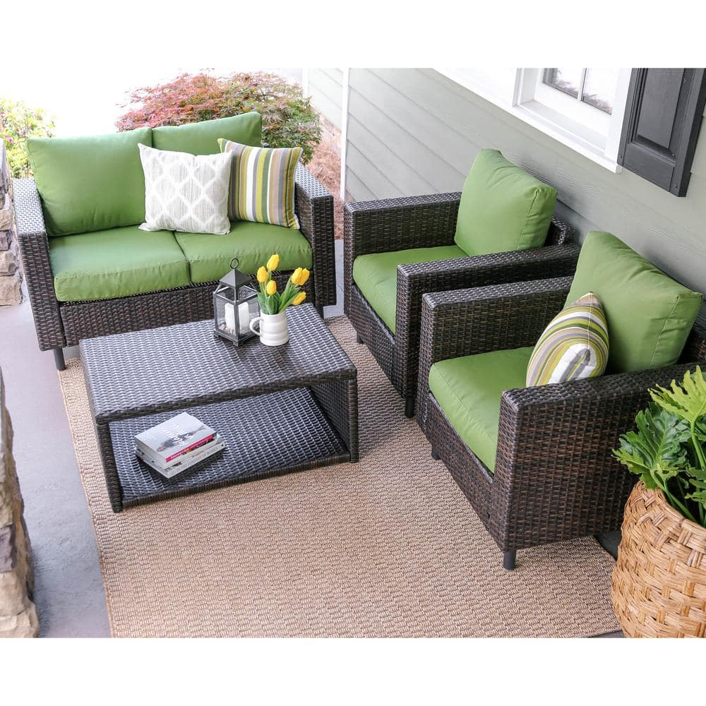 Leisure Made Draper 4-Piece Wicker Patio Conversation Set with