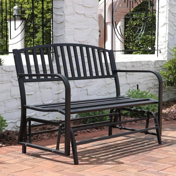 Sunnydaze Decor 2 Person Black Steel, Outdoor Rocking Bench Seat