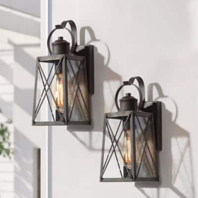 1-Light Industrial Rust Bronze Outdoor Wall Lantern Sconce with Clear Seeded Glass Shade (2-Pack)