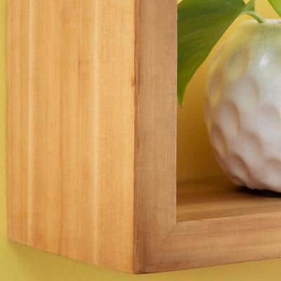 6 in. H x 24 in. W x 5 in. D StyleWell Natural Wood Wall-Mount Floating Shelf (Set of 2)