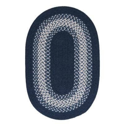 Chancery Navy 5 ft. x 8 ft. Oval Braided Area Rug