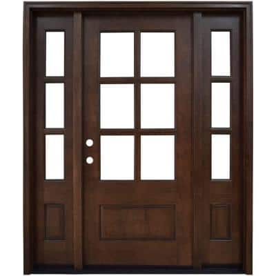 64 in. x 80 in. Savannah Clear 6 Lite RHIS Mahogany Stained Wood Prehung Front Door with Double 12 in. Sidelites