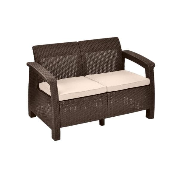 Keter Corfu Brown All Weather Resin, Loveseat Outdoor Furniture