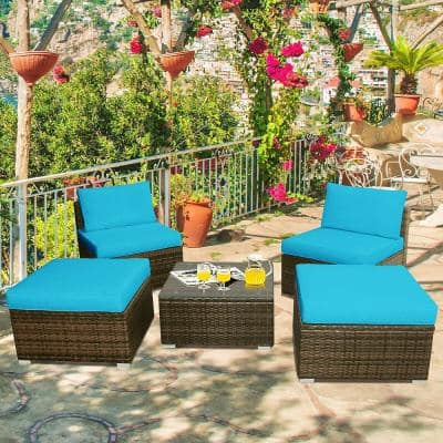 2-Piece Wicker Outdoor Sectional Set with Turquoise Cushions