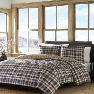Port Gamble 3-Piece Dusted Indigo Blue Plaid Reversible Cotton King Comforter Set