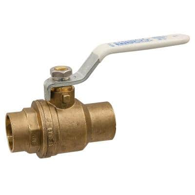 1-1/4 in. Brass Lead-Free Solder Two-Piece Full Port Ball Valve