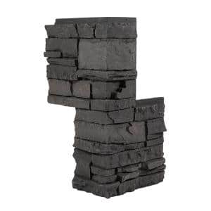 Stacked Stone Iron Ore 24 in. x 12 in. Faux Stone Siding Outside Corner Panel