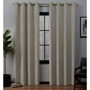 Linen Floral Thermal Blackout Curtain - 52 in. W x 84 in. L (Set of 2)