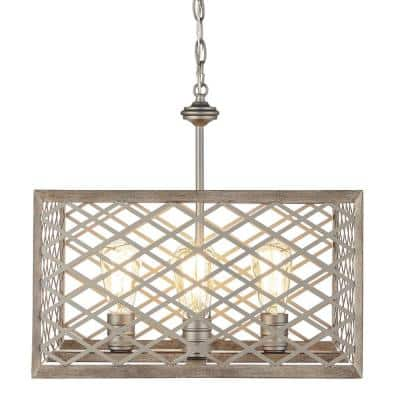 Wallace Manor Collection 4-Light Gilded Pewter Pendant with Interweaving Open Cage Frame