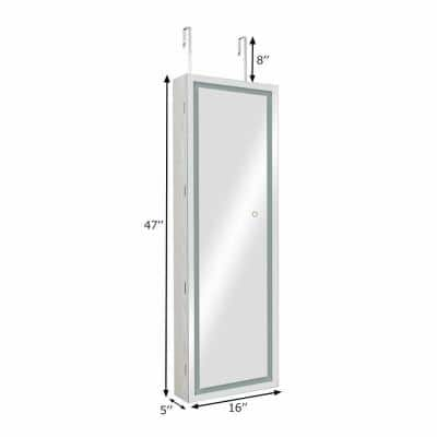 White Jewelry Armoire with LED Light Mirrored 47 in. H x 16 in. W x 5 in. D