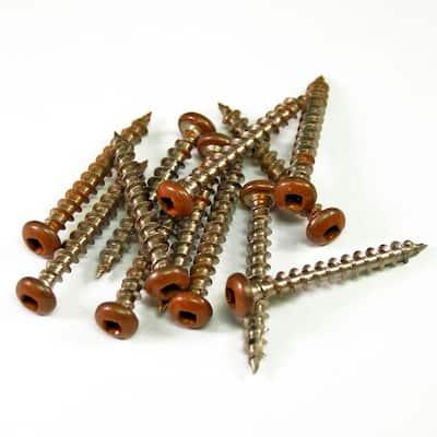 1-1/2 in. Stainless Steel Lattice California Redwood Screws (12-Piece/Bag)