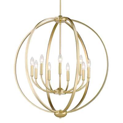 Colson 9-Light Olympic Gold Globe Chandelier