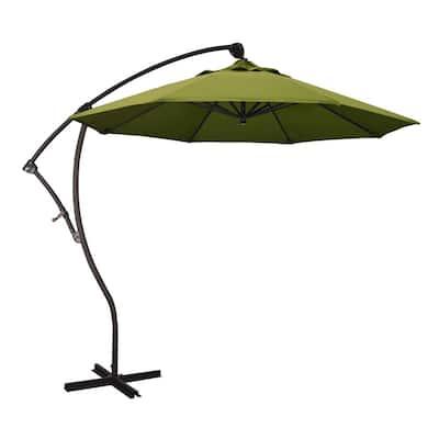 9 ft. Bronze Aluminum Cantilever Patio Umbrella with Crank Open 360  Rotation in Kiwi Olefin