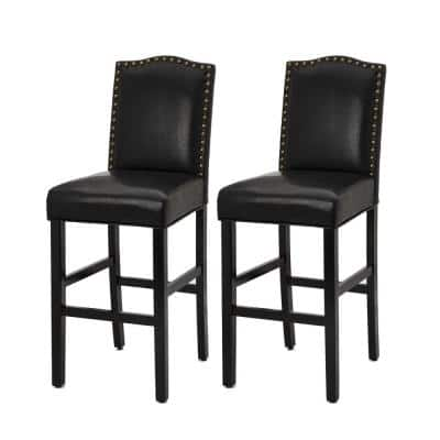 45.00 in. H Black Leatherette Barchair with Studded Decoration Back and Black Solid Rubberwood Legs (Set of 2)