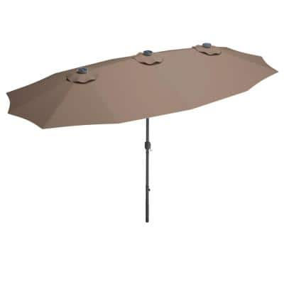 15 ft. Steel Market Solar Patio Umbrella in Tan with LED Lights