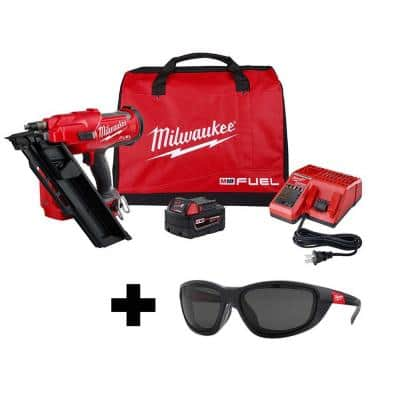 M18 FUEL 3-1/2 in. 18-Volt 30-Degree Lithium-Ion Brushless Framing Nailer Kit and Polarized Tinted Safety Glasses