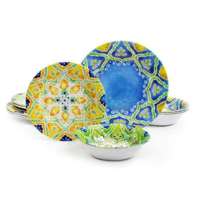 Seaberry 12-Piece Patterned Multi Melamine Outdoor Dinnerware Set (Service for 4)