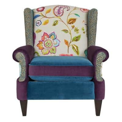 Anya 34 in., Floral and Leopard, Blue-Teal and Purple Velvet, Boho Chic Wingback Accent Arm Chair