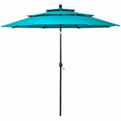 10 ft. 3-Tier Double Vented Aluminum Sunshade Shelter Market Patio Umbrella in Turquoise without Base