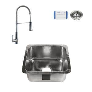 Wilson Undermount Stainless Steel 17 in. Single Bowl Bar Prep Sink with Pfister Faucet in Polished Chrome